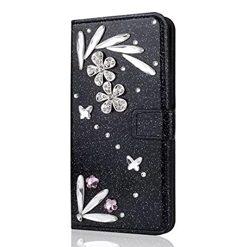 Funda para iPhone 13 Pro Max, con purpurina y plumas brillantes, cierre magnético, color negro