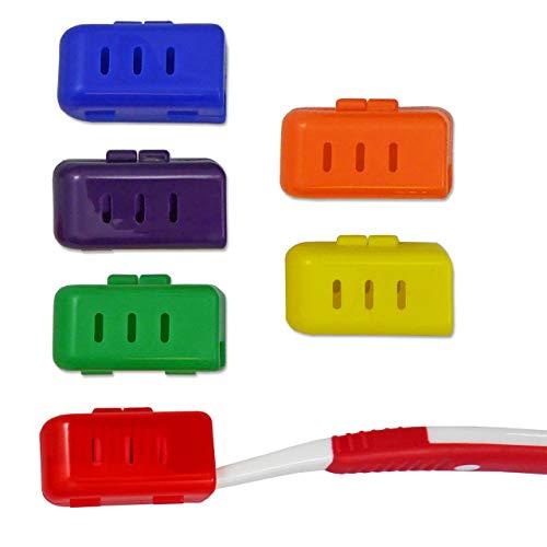 6 x Zahnbürstenhülle ~ Zahnbürsten-Etui für Erwachsene, Kunststoff Halter, Lagerung Reinigung Bürsten auf Reisen