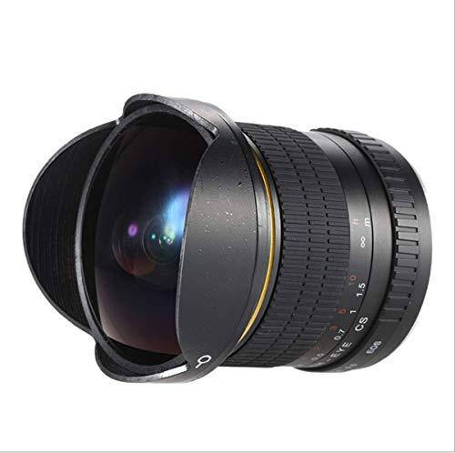 ZHY Lente Ojo de pez para Canon Nikon, Distancia Focal de 8 mm F / 3.5-22 Apertura Lente súper Gran Angular de 176 °, Ideal para fotografía de paisajes y fotografía Profesional