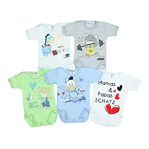 TupTam Unisex Baby Kurzarm-Body mit Aufdruck Spruch 5er Set, Farbe: Junge 2, Größe: 92