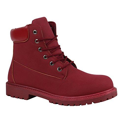 stiefelparadies Herren Worker Boots Bequeme Outdoor Schuhe Profil Leder-Optik 151615 Rot Autol 43 Flandell