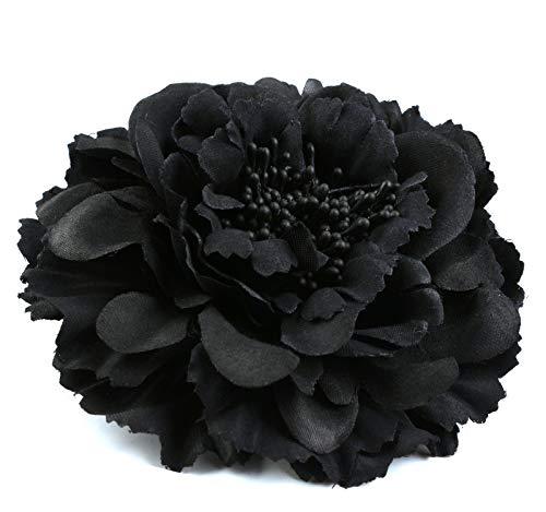Auranso Flower Hair Clip Peony Hairpin Flameno Dancer Pin up Flower Brooch Wedding Bridesmaid Hairpins Vintage Fascinator Black