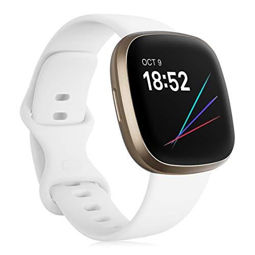 Onedream Correa Compatible para Fitbit Versa 3/ Sense Pulsera para Mujer Hombre, Silicona Reemplazo Deportivo Accesorios Banda Correas Compatible para Fitbit Sense/Versa 3 Blanco S