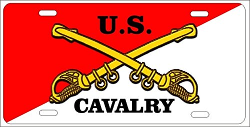 Us Cavalry Cross Sabers Novelty Front License Plate Decorative Military Car Tag by ATD