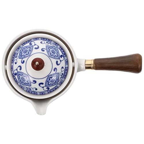 Lurrose Keramik Teekanne mit Seitengriff Porzellan Teebereiter 360 Grad Drehung Fu Teekanne Teespender Teegeschirr Teekessel für losen Tee