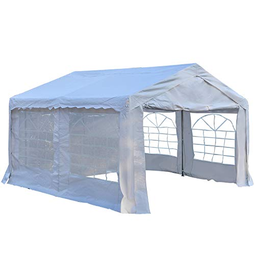 Outsunny Garden Gazebo Marquee Party Tent Wedding Portable Garage Carport shelter Car Canopy Outdoor Heavy Duty Steel Frame Waterproof Rot Resistant (4m x 4m)