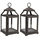 Hosley Set of 2 Clear Glass and Iron Classic Style Lantern 12 Inch High Ideal...