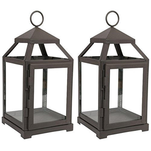 Hosley Set of 2 Clear Glass and Iron Classic Style Lantern 12 Inch High Ideal Gift for Weddings Festivities Parties Outdoor Activities Aromatherapy Spa Settings with Votive or LED W9