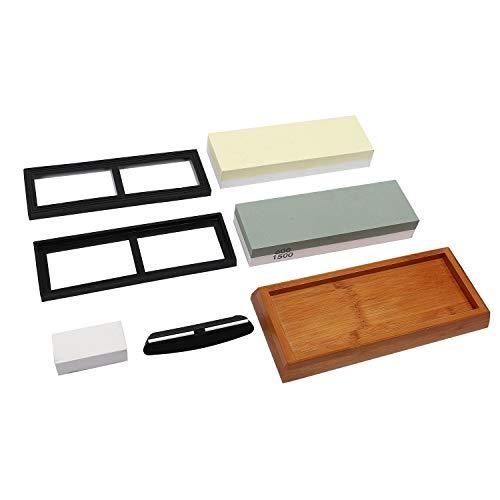 Camisin Whetstone 5000/10000+600/1500 Knife Sharpening Stone Best Knife Sharpening Kit with Angle Guide,Flattening Stone
