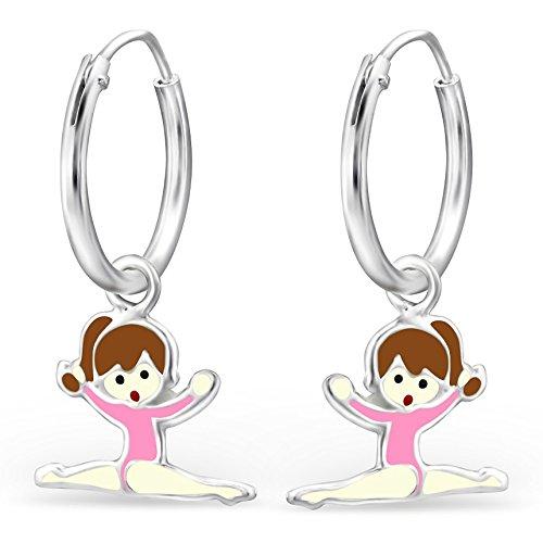 JAYARE pendientes para niña bailarina 22 x 8 mm Esmalte plata de ley 925 rosa con la caja niños