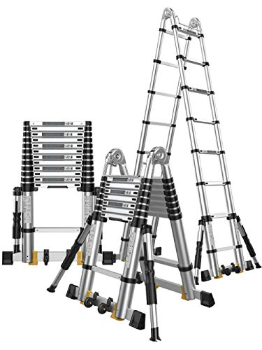 nohbi Escaleras portátiles de alminio Extensibles,Escalera telescópica Plegable de aleación de Aluminio, Escalera doméstica engrosadora, Elevador multifunción -2.9m + 2.9m,Loft Extension Ladder