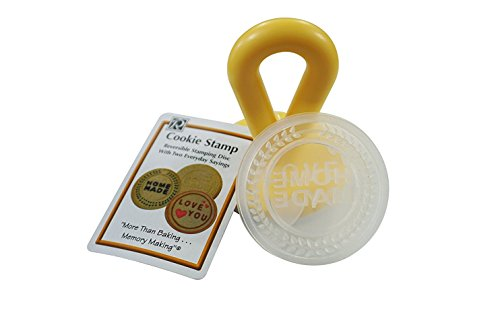 R&M International 0460 Cookie Stamp with Handle, Includes 1 Reversible Disk, Messages Themed, Love You and Home Made