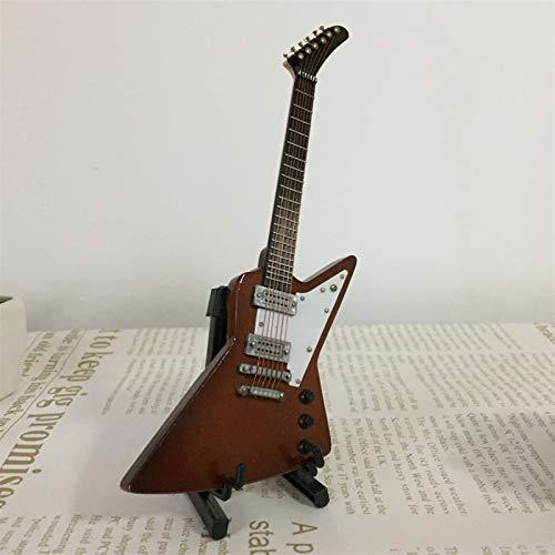 MMI-LX LYRONG - Guitarra de instrumentos musicales de 1/6 hecha a mano con soporte para casa de muñecas de niños