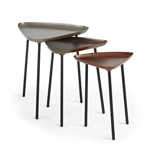 Kave Home - Set 3 mesas auxiliares Iver Triangular 56/49 / 41 cm de Acero con sobre en Zinc, Cobre y latón y Patas de Acero en Negro