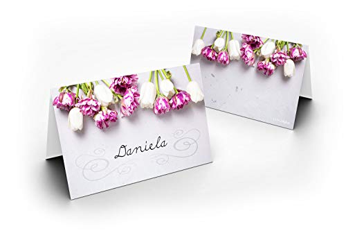 50 tafelkaarten/tulpen lose/UV-lak glanzend/voor kerst/oudejaar/bruiloft/verjaardag/jubileum/als tafeldecoratie/formaat/8,5 x 11,2 cm/850 mm x 1120 mm