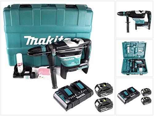 Makita DHR 400 PT2U 2 x 18 V / 36 V Li-Ion Akku Bohrhammer Kombihammer SDS-Max im Koffer + 2 x 5,0 Ah Akku + Doppelladegerät