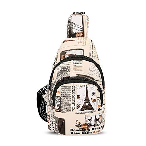 FANDARE Brusttasche Sling Bag Herren Damen Schultertasche Sling Rucksack Mädchen Junge Umhängetasche Sporttasche für Wandern Sport Reisen Joggen Schule Chest Bag Wasserdicht PU Turm Weiß