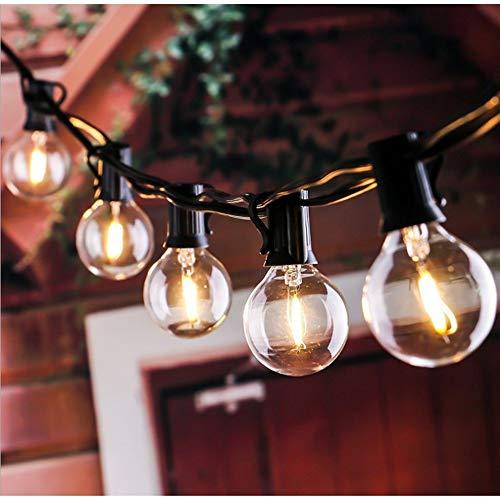 Lichterkette Außen, 30+3 Stücke G40 Glühbirnen, 9.1M Lichterkette Weihnachten Deko Beleuchtung für Party Garten Balkon und Wohnzimmer - Warmweiß Glühbirnen