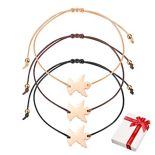 3 pulseras de la suerte de ángel de la guarda de oro rosa Juego para mujeres niñas, cuerda fina de filigrana,queridas damas, alas de ángel, pulsera de amuleto,cadena de brazo, regalo para BFF comunión