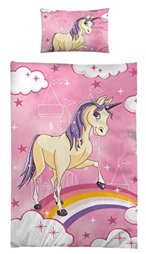 Kinderbettwäsche Babybettwäsche 100x135 cm 40x60 cm 100% Baumwolle Kleinkinder Bettwäsche Set Einhorn Unicorn Lila Rosa