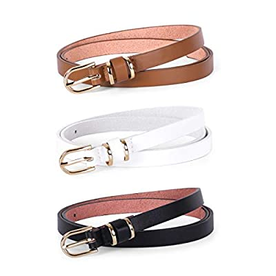 Women Black Skinny Leather Belt for Jeans Pants Fashion Thin PU Leather Waist Belt for Ladies Set of 3(Black+Brown+White,Best for Pants Size 30-36 Inch)