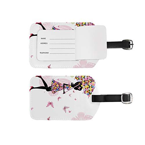 Etiquetas de equipaje para nombre de dirección, 2 unidades de etiquetas de identificación portátil para tarjetas de decoración, accesorios de viaje para maletas, bolsas, bolsas, mariposas, rosa