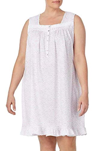 Eileen West Cotton Sleeveless Night Gown Ruffle (C6019989) (Blush Floral, 3X)