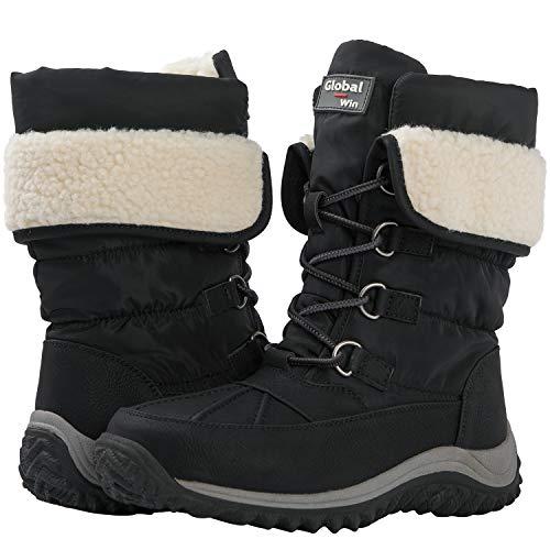 GLOBALWIN Women's 1927 Black Lace-Up Faux Fur Lined Winter Snow Boots 11M