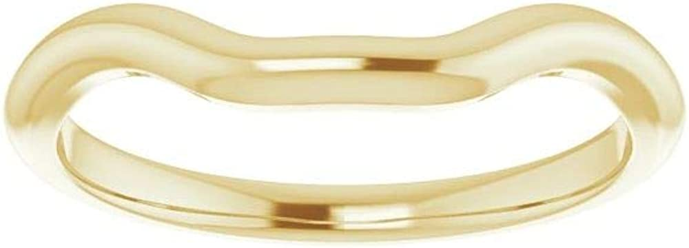 Solid 14K Yellow Gold Curved Notched Wedding Band for 4.5mm Square Ring Guard Enhancer - Size 7