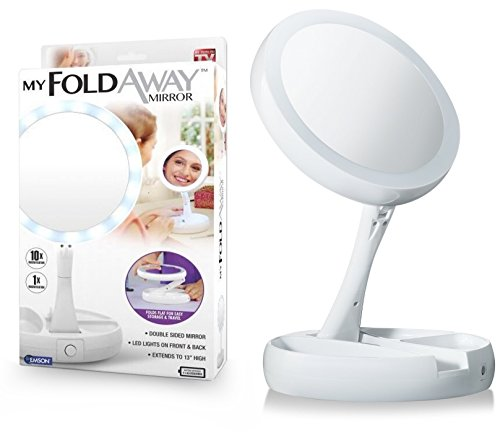 Emson My Foldaway Mirror The Lighted, Double Sided Vanity Mirror 10x Magnification - As Seen on TV!, White