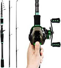 REAWOW Baitcasting Fishing Rod and Reel Combos Lightweight Fishing Baitcaster Combo Set Portable Travel Fishing Pole and Double Brake System 6+1BB Fishing Reel Sea Saltwater Freshwater (Right)