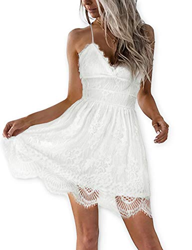 AOOKSMERY Women Summer V-Neck Spaghetti Straps Lace Backless Mini Party Club Beach Dresses (White, X-Small)
