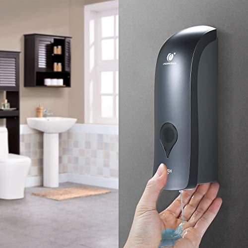 Dispensador manual de sabonete de cabeça única Blusea com suporte de shampoo líquido de gel de banho montado na parede, 300 ml, Cinza