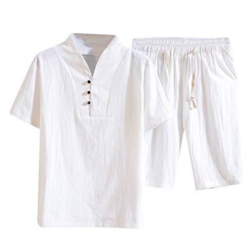 Yowablo Shorts Set Suit Survêtement Summer Fashion Hommes Coton et Lin à Manches Courtes (XXL,3Blanc)