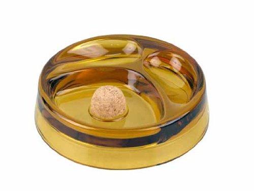Fluitasbak glas rond amber met 2 planken
