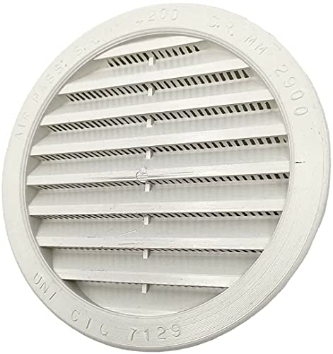 Kombi - 2 rejillas de ventilación de plástico de 140 mm para ventilación, ventilación redonda, empotrable, protección contra insectos, blanco, sistema de aire redondo, paquete de 2 unidades.