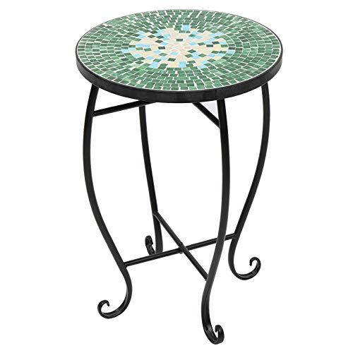 Mosaic Stained Glass Side Table Green Surface Flower Stand Bohemia Indoor Outdoor End Table for Patio Lawn Garden Home Décor