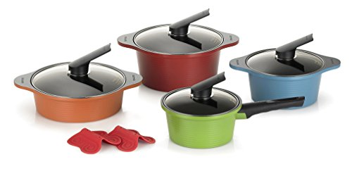 Happycall Hard Anodized Ceramic Nonstick Pot 10-piece Set, Oven Safe, Dishwasher Safe, Silicone Pot Holders, Cookware Set, Assorted Colors