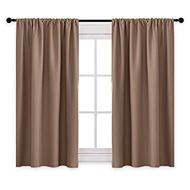 PONY DANCE Kitchen Blackout Curtains - Thermal Insulated Window Treatments Curtain Panels with Rod Pocket Light Block Privacy Protect for Bathroom, Wide 42  by Long 45 , Mocha, Two Pieces