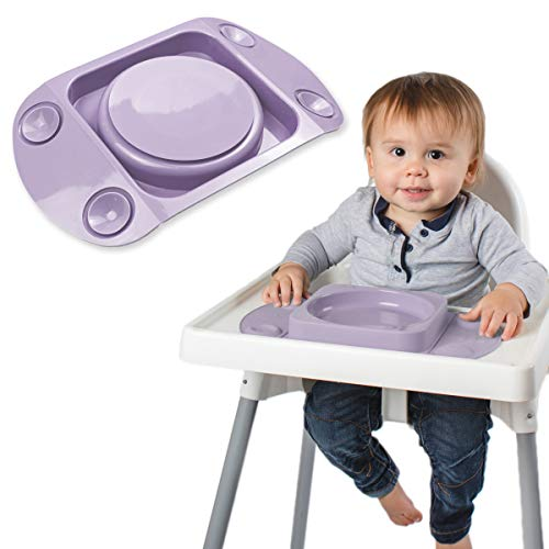 Baby Weaning Suction Plate - EasyMat MiniMax, Strongest 5-Point Suction Feeding Mat with Lid and Carry Case for High Chair Feeding and Travel, The Baby Weaning Set for Stay Put Meals (Lilac)