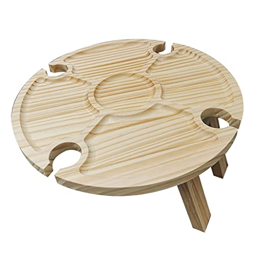 deendeng Outdoor Klapp Picknicktisch Holz Weinglas Rack Halter Tragbarer Camping Tisch für Lawn Beach Travel Garden Obstbrot Cupcake Käse Snack Board Holz Weinglas Rack Halter