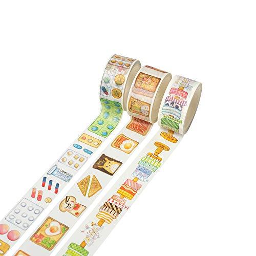 和紙マスキングテープ 3個セット 装飾マスキングテープ 各種アカウント DIYクラフト ギフトラッピング クリスマスパーティー用品 マルチカラー 3 TAPE (すし)