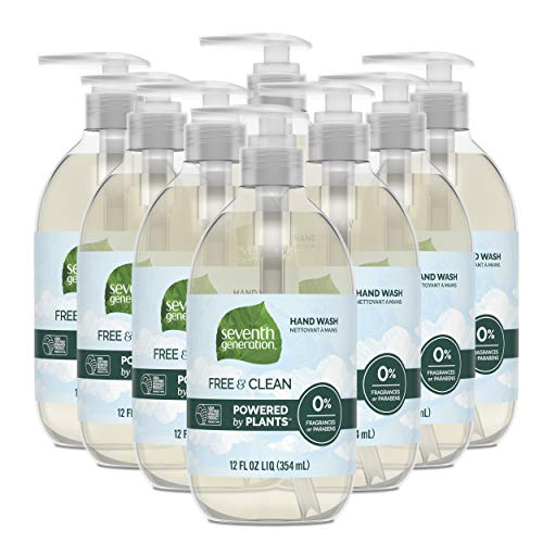 Seventh Generation Hand Soap, Free & Clean Unscented, 12 oz, 8 Pack (Packaging May Vary)