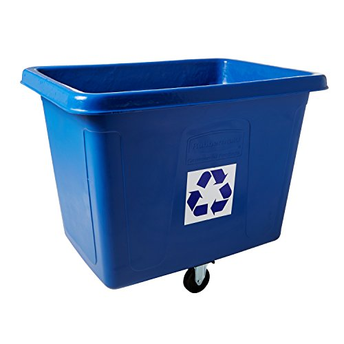 Rubbermaid Commercial Recycling Cube Truck, Rectangular, Polyethylene, 500-Pound Capacity, Blue (461673BE)