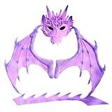 Soly Teche Dragon Wings Costume for Child,Dinosaur Wings and Tail Set Hallowen Cosplay Purple