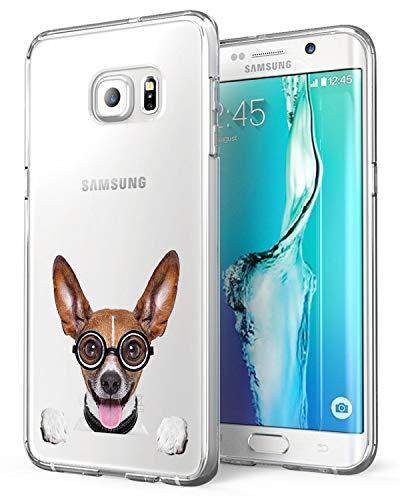 Alsoar Coque Compatible/Replacement pour Samsung Galaxy S6 Edge, [Liquid Crystal] Ultra Mince Transparent TPU Silicone Étui Protection Bumper Housse Souple pour Samsung S6 Edge (Chiot)