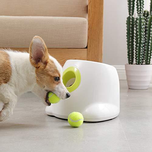 KOSIEJINN Lanzador Automático de Pelotas de Tenis Perros Pequeños Máquina para Lanzar Pelotas de Tenis para Entrenamiento de Tenis Pelota de Tenis Interactiva 3 Tipos de Distancia de Proyectil