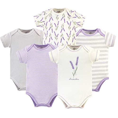 Touched by Nature Unisex Baby Organic Cotton Bodysuits, Lavender, 6-9 Months