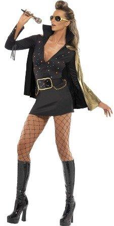 Smiffys, Damen Elvis Viva Las Vegas Kostüm, Kleid und Umhang, Größe: S, 33253