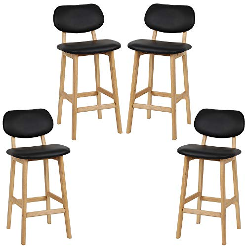 Vendeur pro Lot de 4 Tabouret de Bar Scandinave, Chaise de Bar en Bois, Chaise Haute pour Bars Cuisine et Café, 43x38x91,5cm